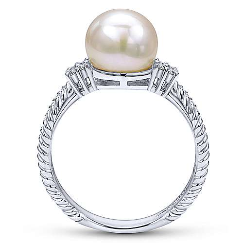 14K White Gold Twisted Classic Cultured Pearl Diamond Ring