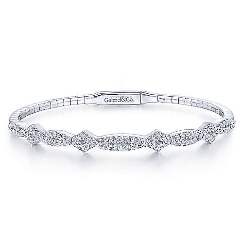 14K White Gold Twisted Diamond Bangle
