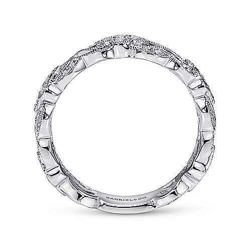 14K White Gold Twisted Diamond Cluster Band