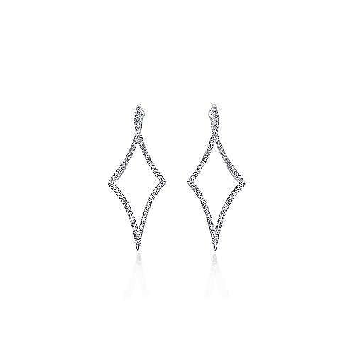 14K White Gold Twisted Diamond Huggie Earrings