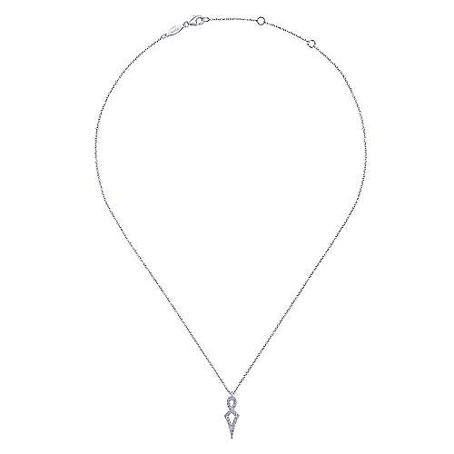 14K White Gold Twisted Diamond Pendant Necklace