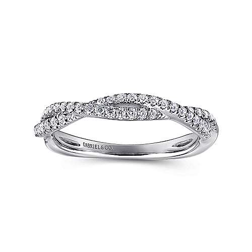 14K White Gold Twisted Diamond Ring