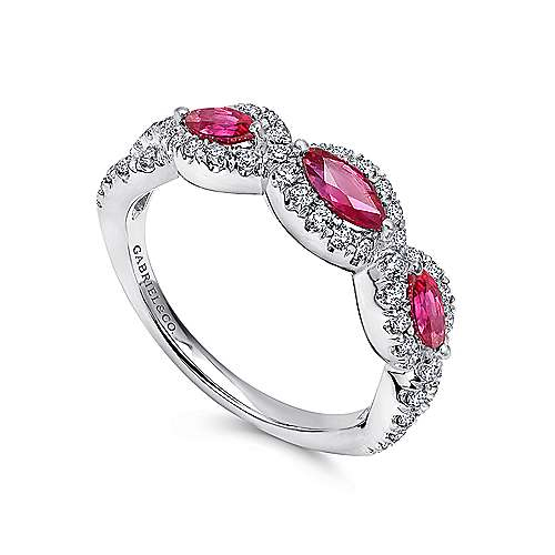 14K White Gold Twisted Diamond Rows and Ruby Marquise Stones Ring