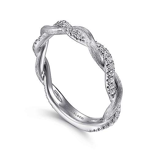 14K White Gold Twisted Diamond Stackable Ring