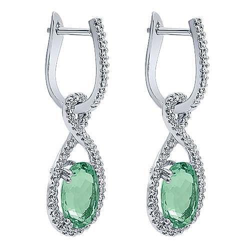 14K White Gold Twisted Diamond Teardrop Green Amethyst Drop Earrings