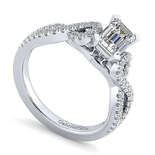 14K White Gold Twisted Emerald Cut Diamond Engagement Ring