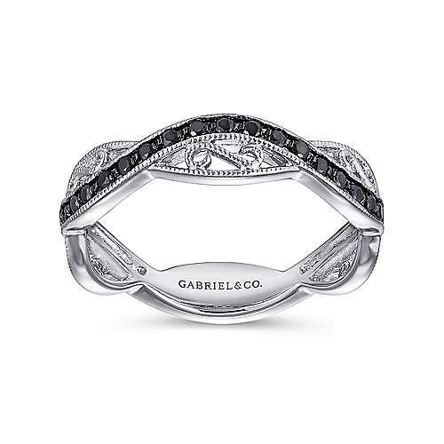 14K White Gold Twisted Filigree Black Diamond Stackable Ring