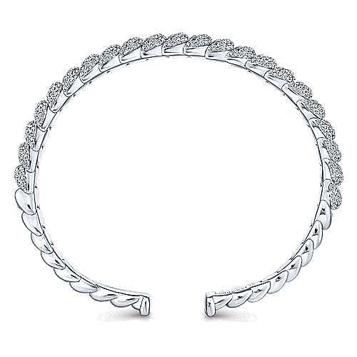 14K White Gold Twisted Link Diamond Pavé Cuff Bracelet