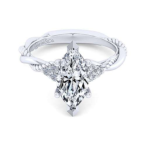 14K White Gold Twisted Marquise Diamond Engagement Ring