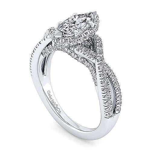 14K White Gold Twisted Marquise Shape Diamond Engagement Ring