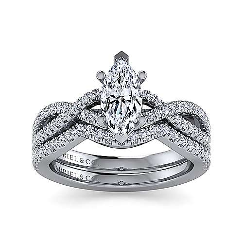 14K White Gold Twisted Marquise Shape Diamond Engagement Ring