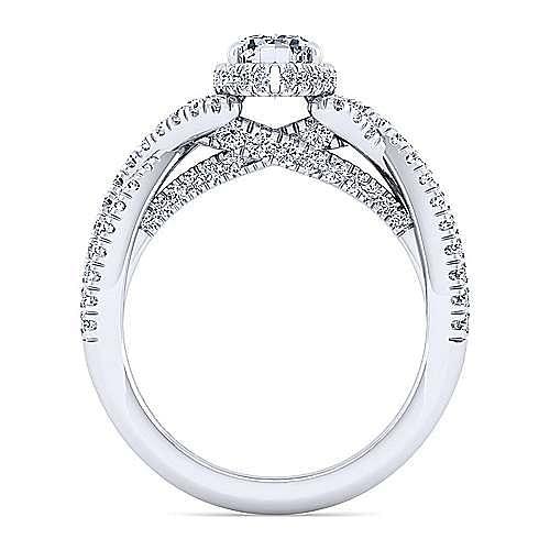 14K White Gold Twisted Pear Shape Diamond Engagement Ring