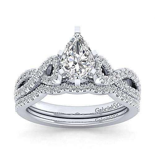 14K White Gold Twisted Pear Shape Diamond Engagement Ring