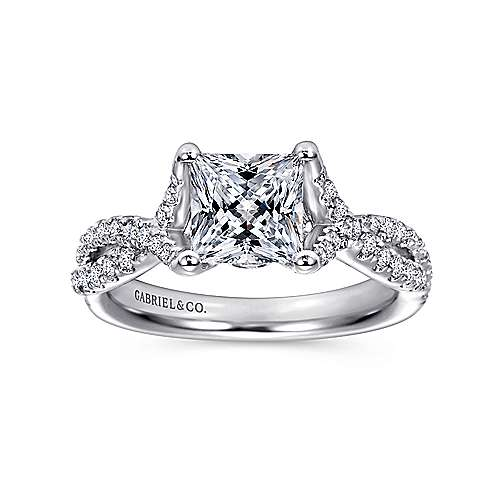 14K White Gold Twisted Princess Cut Diamond Engagement Ring