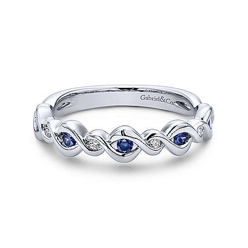 14K White Gold Twisted Ring with Sapphire and Diamond Stones