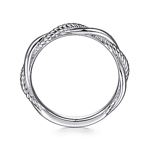 14K White Gold Twisted Rope Intertwining Ring