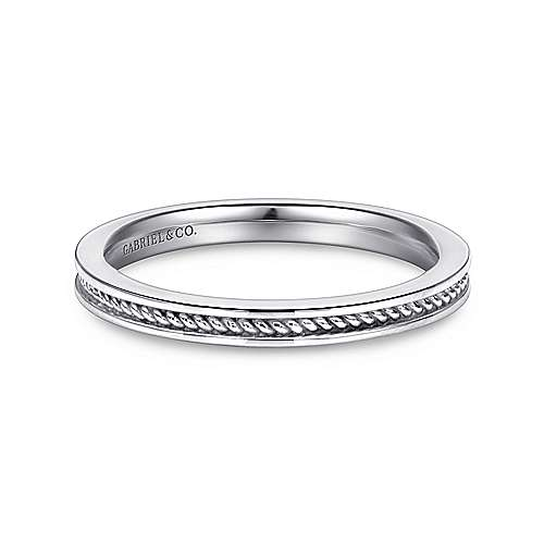 14K White Gold Twisted Rope Stackable Band