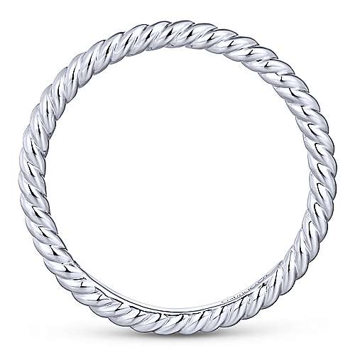 14K White Gold Twisted Rope Stackable Ring