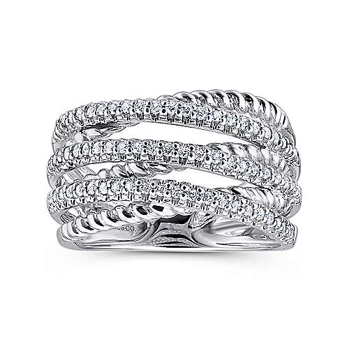 14K White Gold Twisted Rope and Diamond Criss Cross Ring