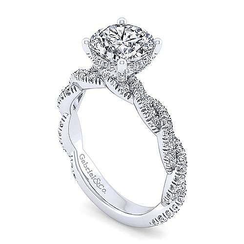 14K White Gold Twisted Round Diamond Engagement Ring