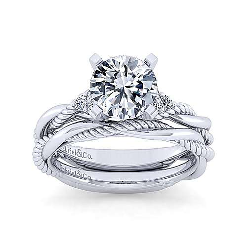 14K White Gold Twisted Round Diamond Engagement Ring
