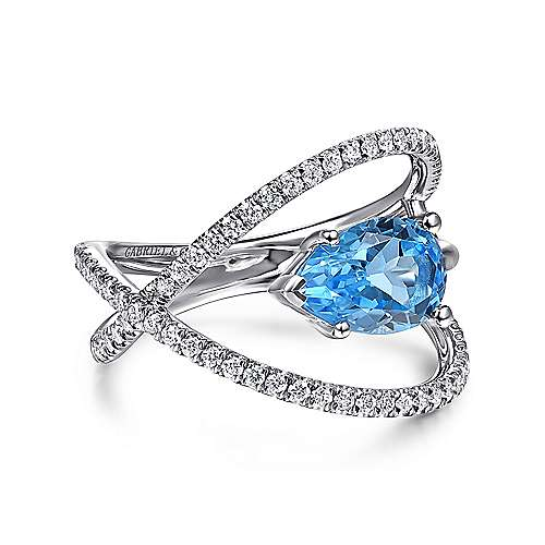14K White Gold Twisted Split Shank Swiss Blue Topaz Ring