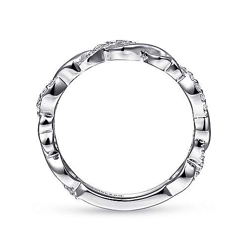 14K White Gold Twisted Stackable Diamond Ring