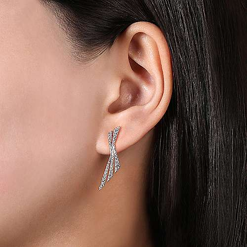 14K White Gold Twisted X Diamond Stud Earrings