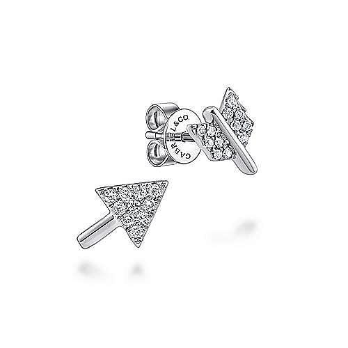 14K White Gold Two Piece Arrow Diamond Stud Earrings