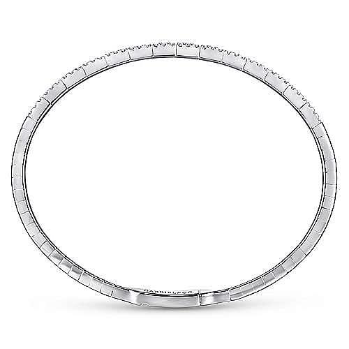 14K White Gold Two Row Diamond Bangle