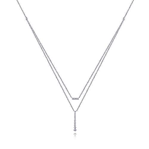 14K White Gold Two Strand Diamond Bar and Bujukan Beaded Pendant Necklace