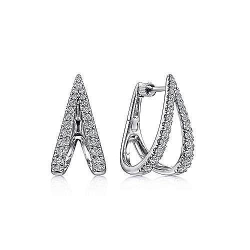14K White Gold V Shape Classic Diamond Hoop Earrings