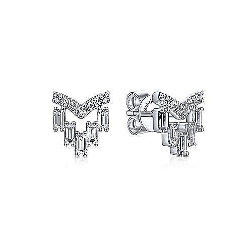 14K White Gold V Shape Round and Baguette Diamond Stud Earrings