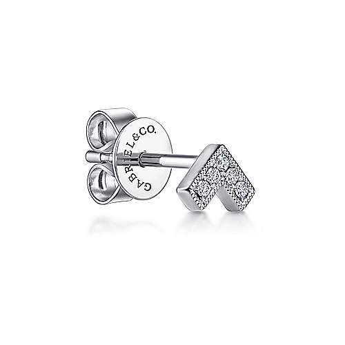 14K White Gold V Shape Single Stud Diamond Earring