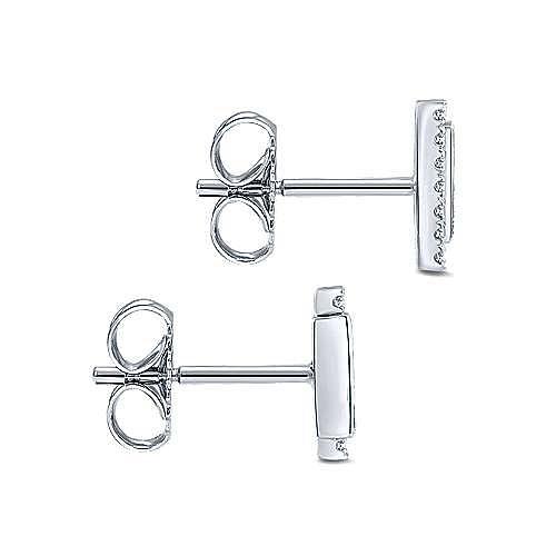 14K White Gold Vertical Bar Diamond & Sapphire Stud Earrings