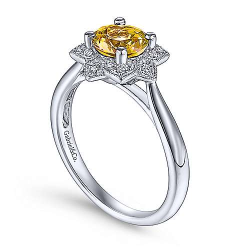 14K White Gold Vintage Halo Citrine and Diamond Ring