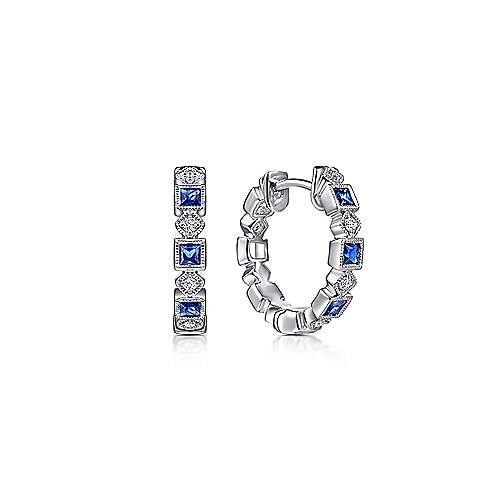 14K White Gold Vintage Inspired 15mm Sapphire and Diamond Huggies