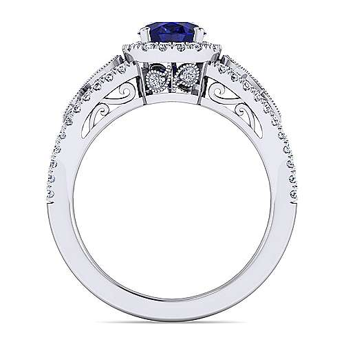 14K White Gold Vintage Inspired Oval Sapphire and Diamond Halo Ring