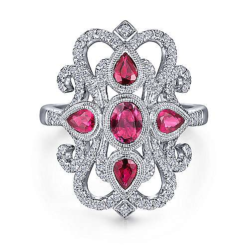 14K White Gold Vintage Inspired Ruby and Pavé Diamond Statement Ring