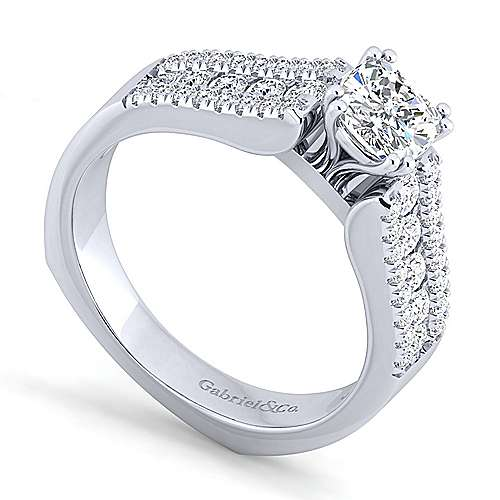 14K White Gold Wide Band Cushion Cut Diamond Engagement Ring