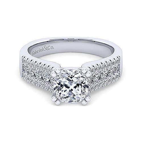 14K White Gold Wide Band Cushion Cut Diamond Engagement Ring