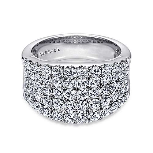 14K White Gold Wide Band Diamond Ring