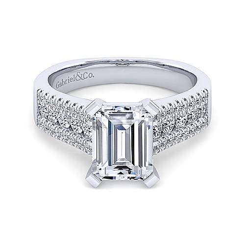 14K White Gold Wide Band Emerald Cut Diamond Engagement Ring