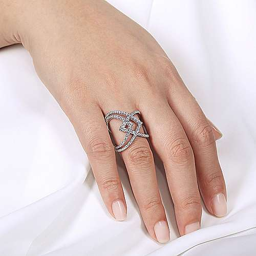 14K White Gold Wide Band Layered Diamond Ring