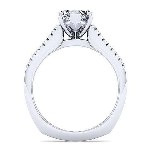 14K White Gold Wide Band Marquise Shape Diamond Engagement Ring
