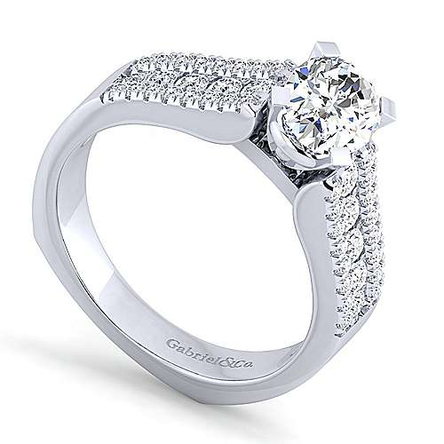 14K White Gold Wide Band Oval Diamond Engagement Ring