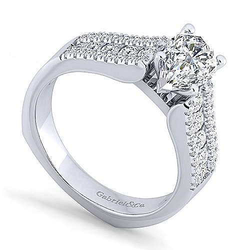 14K White Gold Wide Band Pear Shape Diamond Engagement Ring