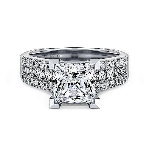 14k White Gold Wide Band Princess Cut Diamond Engagement Ring Er3952s8w44jj Gabriel Co