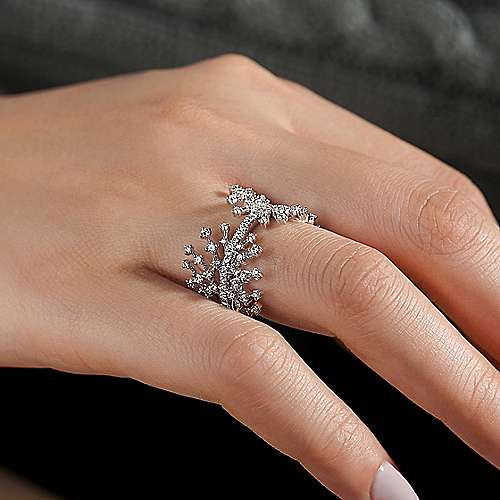 14K White Gold Wide Band Prong Set Diamond Corset Ring