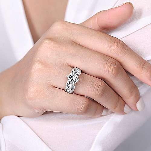 14K White Gold Wide Band Round Diamond Engagement Ring